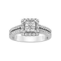 1 ct. tw. Diamond Engagement Ring ($1,158) ❤ liked on Polyvore featuring jewelry, rings, i, round diamond ring, diamond accent rings, princess cut ring, round engagement rings and engagement rings