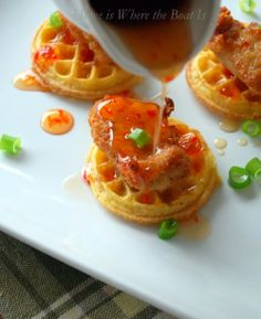 frozen mini waffles, chick fil A bites, pepper jelly mixed with maple syrup - quick appetizer