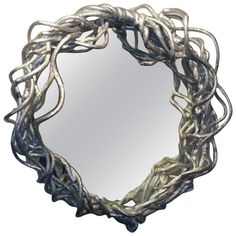 Abstract Sculpted Pewter Mirror. 1