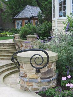 Stone walls, steps, iron railings