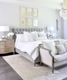 Master Bedroom Update Reveal is part of Gray Master bedroom - Having been in our home for nearly four years, it is time to reveal my newly redesigned master bedroom I first began with a lovely new chandelier Master Bedroom Design, Dream Bedroom, Home Decor Bedroom, Modern Bedroom, Bedroom Furniture, Bedroom Interiors, Bedroom Designs, Lux Bedroom, Beds Master Bedroom