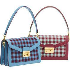 06007ff39a Pradas new jacquard Vichy and saffiano leather shoulder bag.
