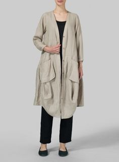 Khaki Gray Linen Long Blouse Dress
