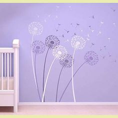 Dandelion Wall Stencil - Floral Stencils for Walls - Flower Stencil Designs - Reusable Stencil for Painting Walls - Try Stencil instead of Wallpaper and Save on Room Makeover - (Size Medium) Girl Nursery, Girls Bedroom, Nursery Art, Dandelion Nursery, Dandelion Flower, Little Girl Rooms, Of Wallpaper, My New Room, Baby Room