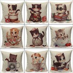 #NewChic - #NewChic Linen Cute Cats Pillow Case Home Soft Decor Cushion Cover - AdoreWe.com