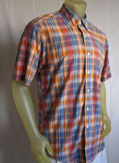 6f844dec1f1 Brooks Brothers Madras Plaid Mens Short Sleeve Shirt Slim Fit All Cotton  Large  BrooksBrothers