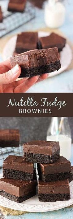 Nutella Fudge Brownies - a dense brownie topped with Nutella fudge and chocolate!Nutella Fudge Brownies - a dense brownie topped with Nutella fudge and chocolate! Nutella Fudge, Nutella Recipes, Brownie Recipes, Nutella Slice, Nutella Drink, Nutella Milkshake, Nutella Mousse, Nutella Frosting, Brownie Ideas