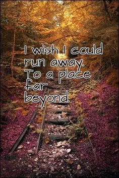 I wish I could run away. To