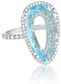 """10 Fine Jewelry Gifts That Will Leave Her Breathless: Suzanne Kalan """"Vitrine"""" Pear Blue Topaz and Diamond Bezel Ring"""