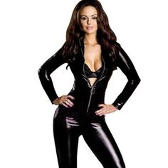 Wonder beauty Sexy Women Wet Look Clubwear Vinyl Catsuit Costume High  Quality Fetish Gothic Faux Leather Jumpsuit 346db3d47