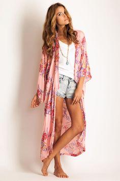 Arnhem Clothing Bowerbird kimono in pink passion: Soleilblue.com