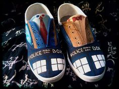 Hand Painted Shoes inspired by Doctor Who for Women and Children. $70.00, via Etsy.