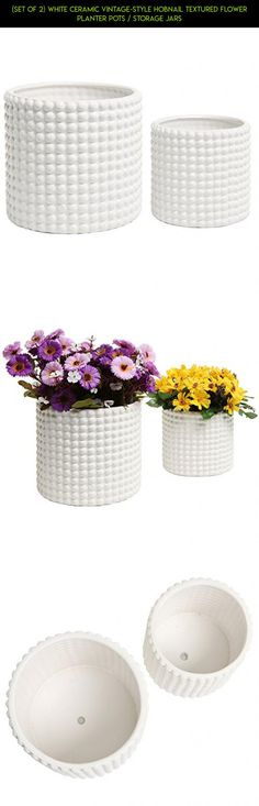 (Set of 2) White Ceramic Vintage-Style Hobnail Textured Flower Planter Pots / Storage Jars #plans #technology #camera #storage #parts #racing #fpv #tech #jars #products #shopping #drone #gadgets #kit