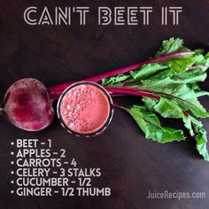 Can't Beet It juice is a delicious and natural way to cleanse the liver! Juice Cleanse Recipes, Healthy Juice Recipes, Blender Recipes, Healthy Juices, Shake Recipes, Healthy Smoothies, Healthy Drinks, Beet Smoothie, Smoothie Drinks