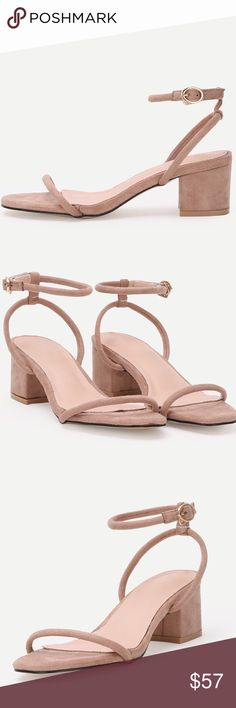 "Nude Faux Suede Thin Ankle Strap Block Heels These minimalist sandals feature a faux suede upper, thin ankle straps, and 2"" chunky heels. Will be available soon. Shoes Sandals"