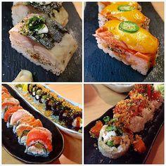 Such a wonderful izakaya place in town: (1) Aburi Saba Hako (2) Spicy Salmon Aburi Hako (3) Tataki Rainbow Roll (4) Black Rice Roll and (5) Volcano Dynamite Roll #sushi #blackrice #yum #aburi #Vancouver #Canada #dinner # by simon_65
