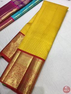 Nalli Silk Sarees, Kanchi Organza Sarees, Silk Saree Kanchipuram, Pattu Sarees Wedding, Indian Bridal Sarees, Bridal Silk Saree, Yellow Saree Silk, Saree Color Combinations, Saree Tassels