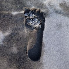 Footprint in the volcano ashes - Rabaul Papua New Guinea