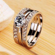 White Gold Diamond Engravable Wedding Ring for Women