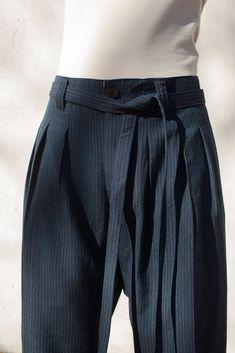 Visvim Hakama Pants in Navy Wool For men....but I love the asymmetrical legs...