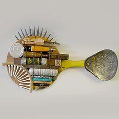 Stephen Palmer a Michigan artist creates these wonderful folk art fish from found objects.