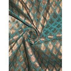 "Semi Sheer Spun Silk Brocade Fabric Sea Blue & Metallic Gold 44"" Fabric Names, Brocade Fabric, Beautiful Outfits, Metallic Gold, Roman, Blue, Sea, Clothing, Outfits"