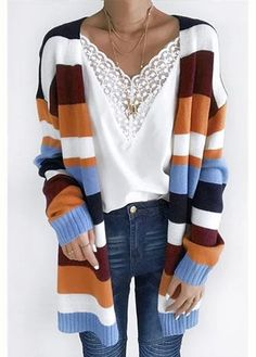 guide and tips for wearing fall outfits Stylish Older Women, Cardigan Outfits, Striped Cardigan, Winter Sweaters, Sweater Shop, Cardigans For Women, Autumn Winter Fashion, Fall Outfits, Knitting