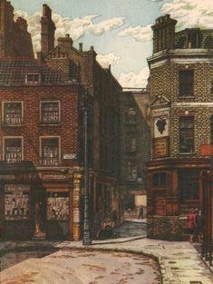Shepherd Market, by Charles Ginner 1947 old vintage print picture Vintage Colors, Vintage Prints, Vintage Art, Camden Group, A Study In Scarlet, Cityscape Art, Old London, Urban Landscape, Cityscapes