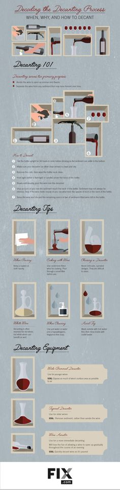 Decanting wine is not just for fancy parties and professional sommeliers. Learn how you can get the most from your wine by becoming familiar with the art of decanting #wine #infographic #infografía