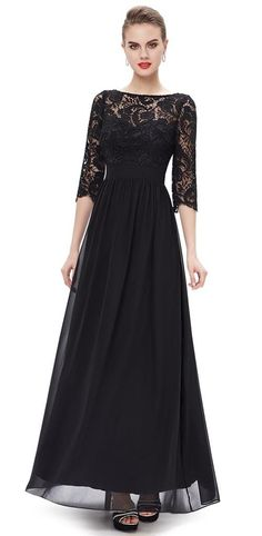 f227d3ab7b Angel Formal Dresses Women s Black Scoop V Back Lace and Chiffon Evening  Dresses   Check this awesome product by going to the link at the image.