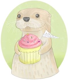 two of my favorite things: otters and a cupcake