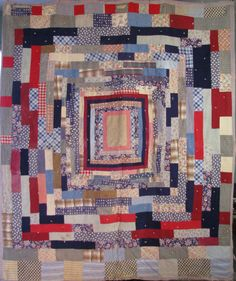 Antique Red Brick Housetop Strip Quilt