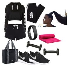 """""""off to the gym"""" by sjoberty-sj ❤ liked on Polyvore featuring Topshop, NIKE, Fitbit, adidas Originals, Balenciaga, women's clothing, women, female, woman and misses"""