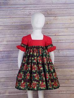 Toddler /& Girls Christmas Holiday SANTA Red Green Boutique Ruffle Peasant Dress