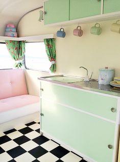 mint cupboards in caravan Fabulous Pastel Vintage Caravans