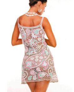 Lacy paisley crochet dress - Pattern in Russian Crochet Paisley, Crochet Diy, Freeform Crochet, Love Crochet, Russian Crochet, Irish Crochet, Vestidos Sexy, Irish Lace, Lace Patterns