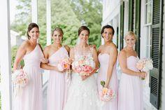 Noelle & Mike's Romantic Eastern Shore Wedding | #DonnaMorgan bridesmaids dresses in Palest Pink | Natalie Franke Photography | Chesapeake Bay Beach Club | Florist: Intrigue Designs #wedding #weddinginspiration #pinkweddings #pinkbridesmaidsdresses