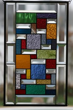 Quilted Sampler Stained Glass Window Panel by Lindaleeglass