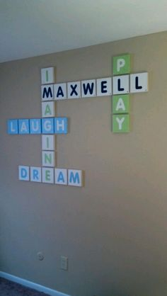 Fun way to add family names to game room. Girl Room, Baby Room, Scrabble Wall, Toy Rooms, Project Nursery, Diy Arts And Crafts, Family Names, Family Rooms, The Help