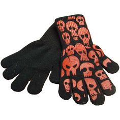 Halloween Fancy Skull Print Glow In The Dark Gloves - Black/Red www.babywearwholesale.com