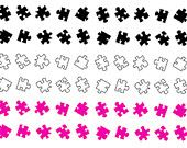 Miniature Puzzle Piece Nail Decal (60 Stickers) - Pink, Black, White Set  Autism Awareness or any Creation