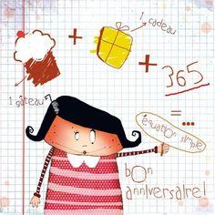 """Morgane Devillers carte postale carrée (14cm) """"Equation simple bon anniversaire"""""""