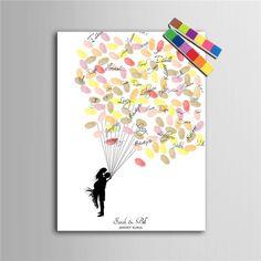 Personalized Fingerprint Tree Canvas Wedding Guest Book Wedding Decor Decorations Mariage Decoration Event Party Supplies Boda