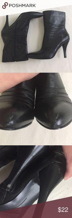 Nine West Leather Booties Genuine leather upper,side zipper,pointy toe black boots.Heel approx 4 inches.front of both shoes have nicks on them & left heel has a nick.scuffing on both heels from wear.See pic 2 & 3.size 6.5.Smoke free home. Nine West Shoes Ankle Boots & Booties