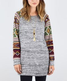 Look what I found on #zulily! éloges Charcoal Geometric Raglan Tunic by éloges #zulilyfinds