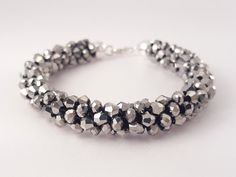 Bracelet with silver crystal beads and sterling por SelwerJewelry