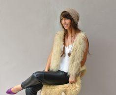 Mongolian fur cashmere sweater vest / ivory Tibet long fur vest