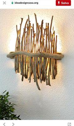 Huis: Verlichting & Kaarsen ~ Pin via Dreamcatchers-Shop ~ - Machen, machen, machen Driftwood Projects, Driftwood Art, Driftwood Table, Deco Luminaire, Deco Nature, Wood Lamps, Lamp Design, Wood Design, Inspired Homes