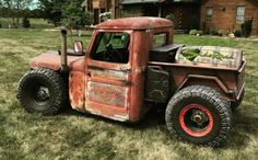 Find Willys Custom at incredible prices. Take advantage of the huge American automotive market to buy your Willys Customin the best conditions. Jeep Rat Rod, Rat Rod Cars, Hot Rod Trucks, Cool Trucks, Jeep Pickup Truck, Rat Rod Pickup, Old Ford Trucks, Jeep Willys, Custom Rat Rods