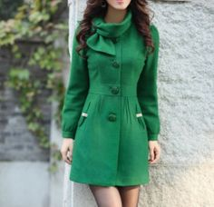 Green Single-breasted Winter Coat/Woman coat/ Woman Jacket/Tunic/ Long Jacket/Short Jacket/ Long Sleeves/Woman Tunic from Eloneeclothing on Etsy. Green Winter Coat, Green Coat, Green Jacket, Green Dress, Winter Coats Women, Coats For Women, Jackets For Women, Cool Coats, Winter Stil